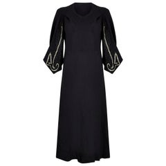 1930s Black Silk Crepe Gown With Kimono Style Embroidered Soutache Sleeves