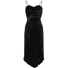 1930s Black Silk Devore Velvet Dress With Spaghetti Straps