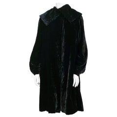 1930s Black Silk Velvet Coat with Large Collar