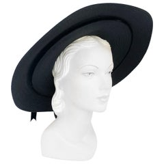 1930s Black Straw Picture Hat