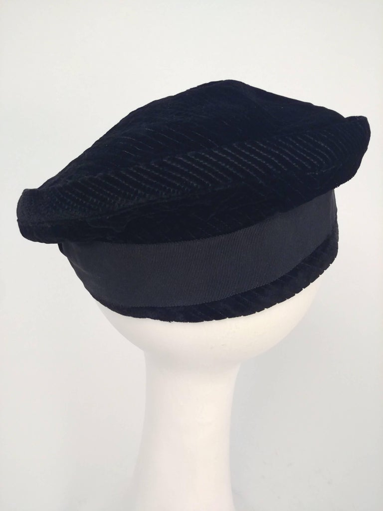 1930s Black Striped Velvet Cap. Black velvet with shaved striped lines in fabric for textured effect. Meant to be worn at a tilt for playful effect.