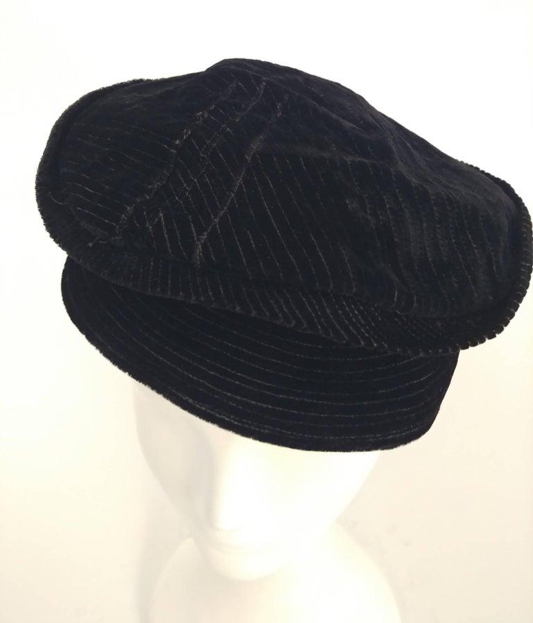 Women's Black Striped Velvet Cap, 1930s  For Sale