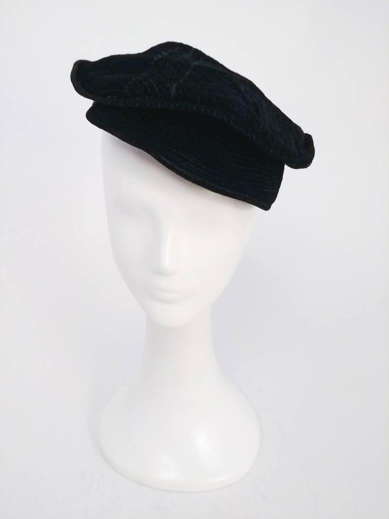 Black Striped Velvet Cap, 1930s  For Sale 1