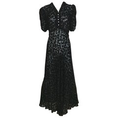 1930s Black Tulip Motif Velvet Burnout Dress