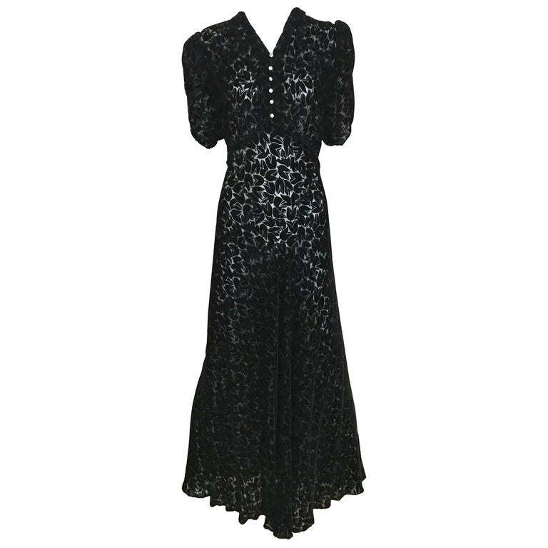 1930s Black Tulip Motif Velvet Burnout Dress For Sale