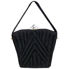 1930s Black Twill Quilted Trapunto Handbag with Lucite Closure