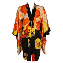1930s Black Vibrant Shibori Flower Silk Kimono Jacket