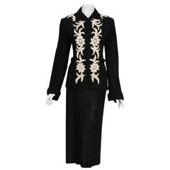 1930's Black & White Deco Floral Chenille Boucle-Wool Belted Sweater Dress Set