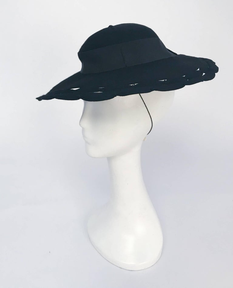Women's Black Wide Brim Hat with Scalloped Brim and Cutouts, 1930s  For Sale