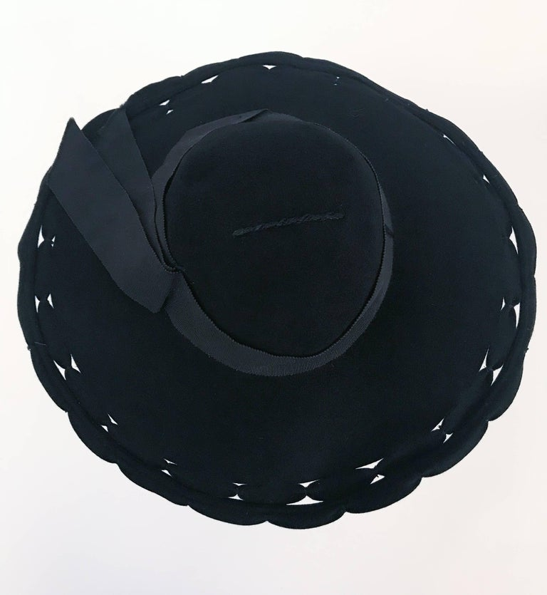 Black Wide Brim Hat with Scalloped Brim and Cutouts, 1930s  For Sale 1