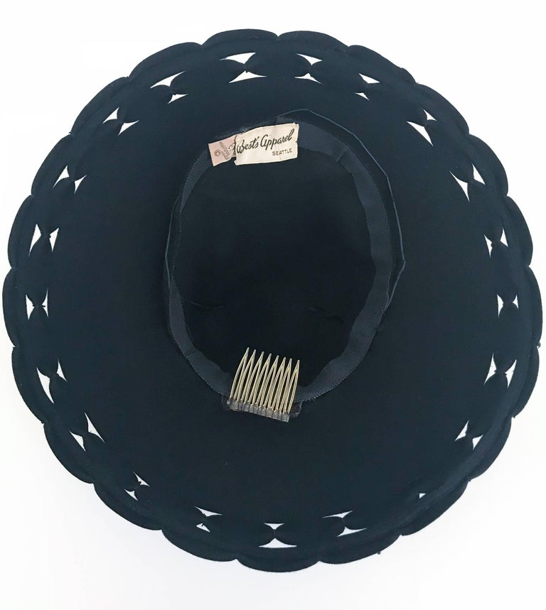 Black Wide Brim Hat with Scalloped Brim and Cutouts, 1930s  For Sale 2