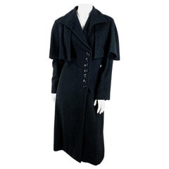 1930s Black Wool Coat with Button Accents and Capelet