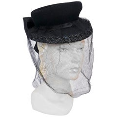 1930's Black Wool Perch Hat with Raffia Trimmed Brim and Full Veil