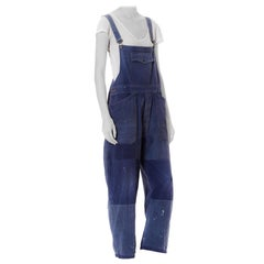 1930S Blue Cotton Men's French Workwear Distressed Patchwork Overalls