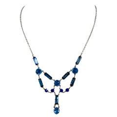 1930s Blue Czech Glass Necklace