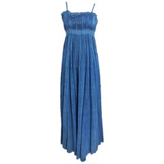 1930s Blue Pinch Pleated Raw Silk Couture Evening Gown Vintage