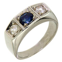 1930s Blue Sapphire Diamonds White Gold Band Ring