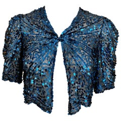 1930s Blue Sequins Bolero Jacket