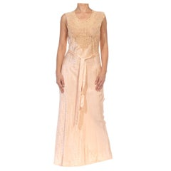 1930S Blush Pink Bias Cut Silk & Hand Embroidered Lace Couture Grade Negligee