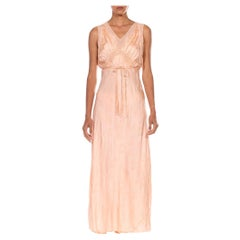1930S Blush Pink Bias Cut Silk Jacquard Couture Hand_Embroidered Negligee Slip