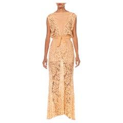 1930S Blush Pink Rayon & Silk Chiffon Lace Sheer Cowl Neck  Dress With Cross Ba