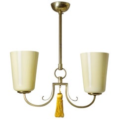 1930s Brass and Glass Chandelier
