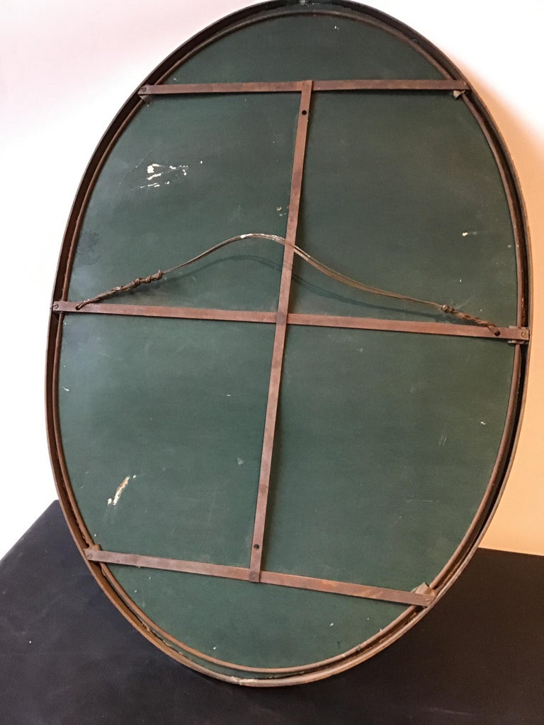 1930s Brass Oval Mirror For Sale 7
