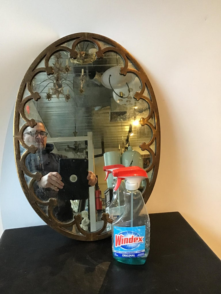 1930s Brass Oval Mirror In Good Condition For Sale In Tarrytown, NY