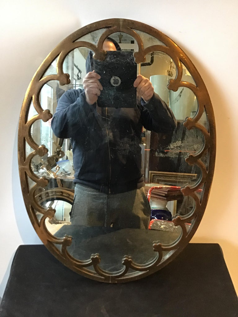Mid-20th Century 1930s Brass Oval Mirror For Sale