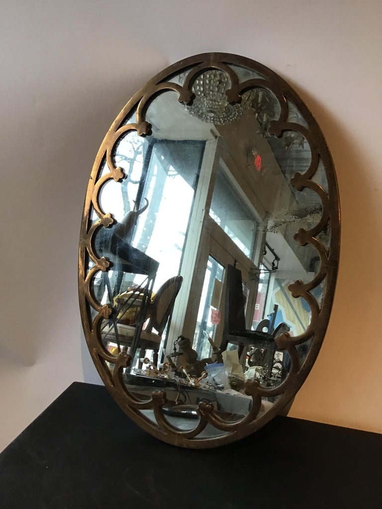 1930s Brass Oval Mirror For Sale 1