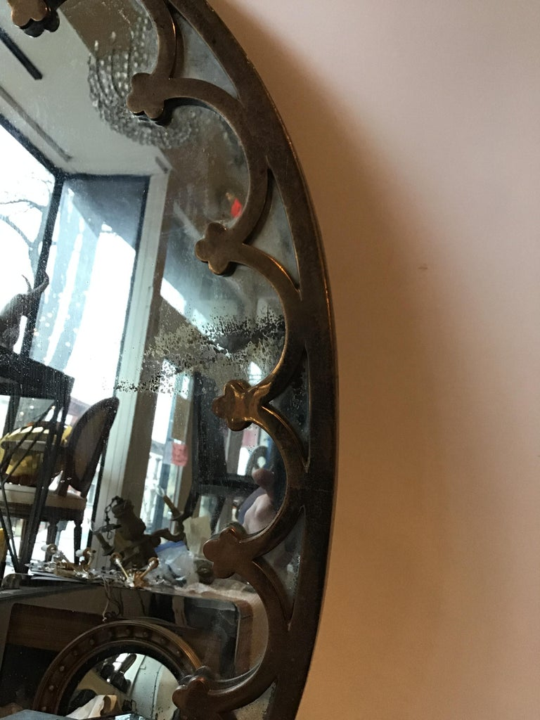 1930s Brass Oval Mirror For Sale 2