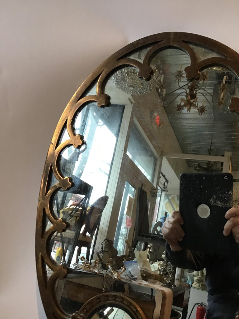 1930s Brass Oval Mirror For Sale 4