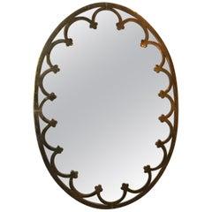1930s Brass Oval Mirror