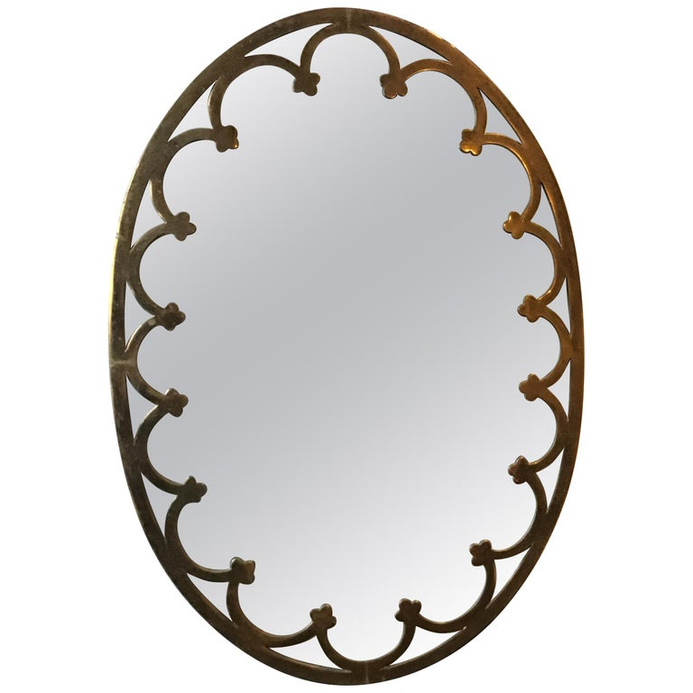 1930s Brass Oval Mirror For Sale