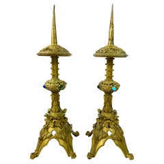 1930's Bronze and Glass Pair of Candlesticks