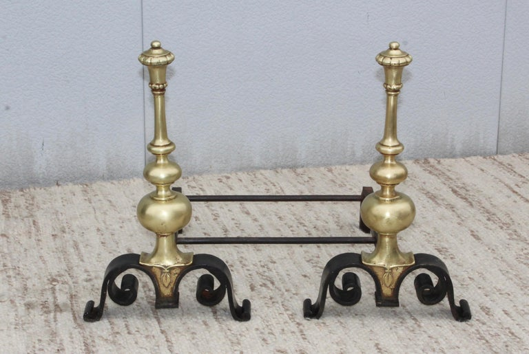 Stunning 1930s bronze and iron andirons, in vintage condition well made and very heavy.
