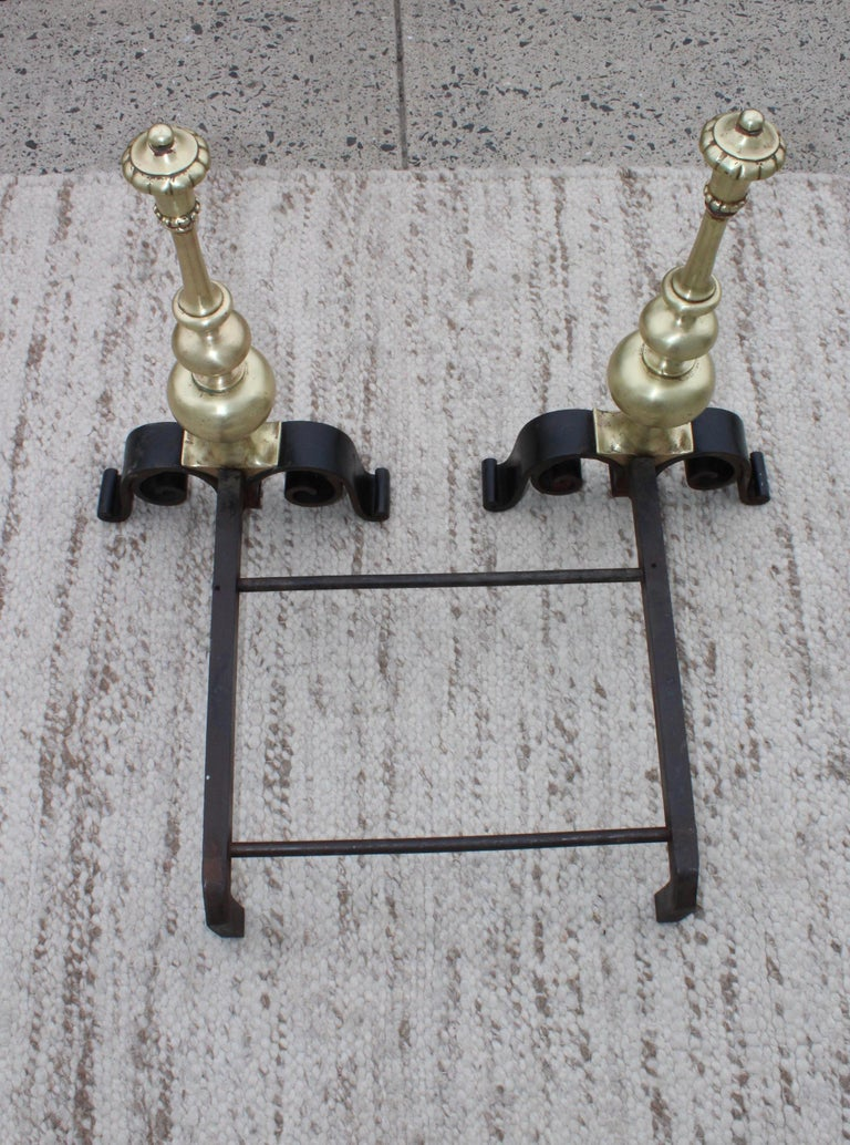 Mid-20th Century 1930s Bronze Andirons For Sale