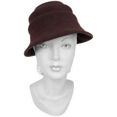 1930s Brown Art Deco Fur Felt Hat