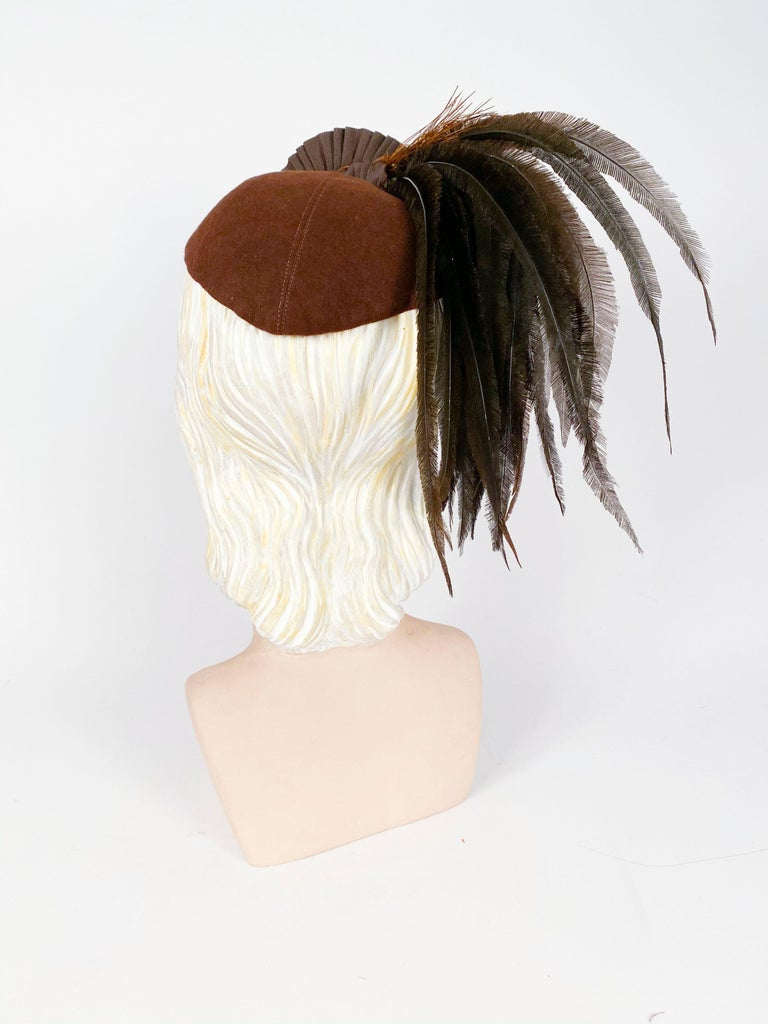 Women's 1930's Brown Beaver Fur Felt Hat with Ribbon, Feather, and Button Accent For Sale