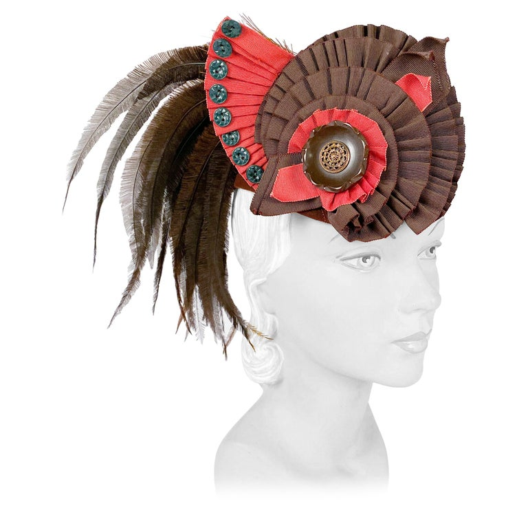 1930's Brown Beaver Fur Felt Hat with Ribbon, Feather, and Button Accent For Sale