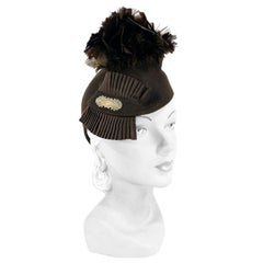 1930s Brown Sculpted Felt Hat with Feather and Ribbon Accents