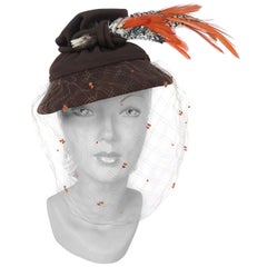 1930s Brown Sculpted Fur Felt Hat with Feathers and Full Veil