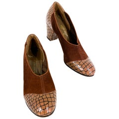 1930s Brown Suede and Alligator Pattern Heel
