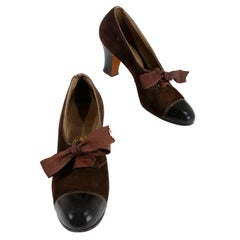 1930s Brown Suede and Leather Heels