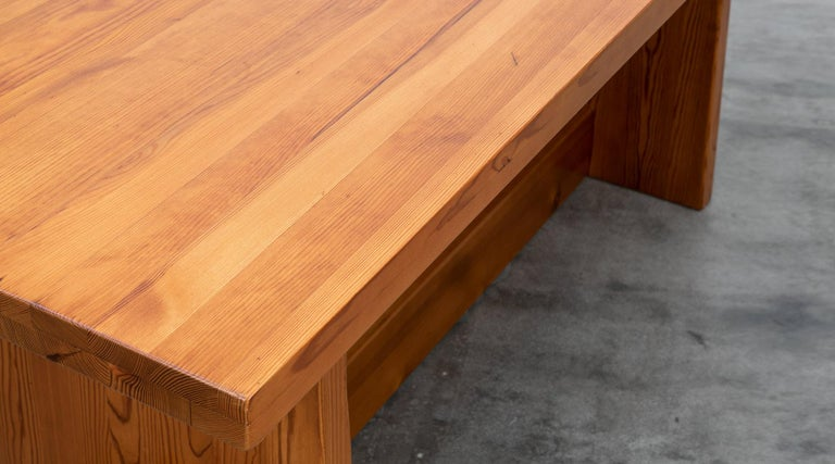Mid-20th Century 1930s Brown Wooden Pine Dining Table by Axel Einar Hjorth For Sale
