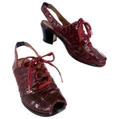 1930s Burgundy Alligator Sling-Back Heels