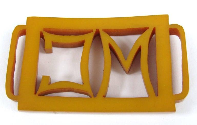 1930s Butterscotch Bakelite Catalin Belt Buckle M C For Sale 2