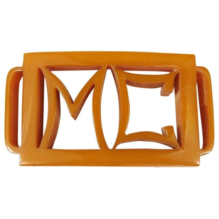 1930s Butterscotch Bakelite Catalin Belt Buckle M C For Sale