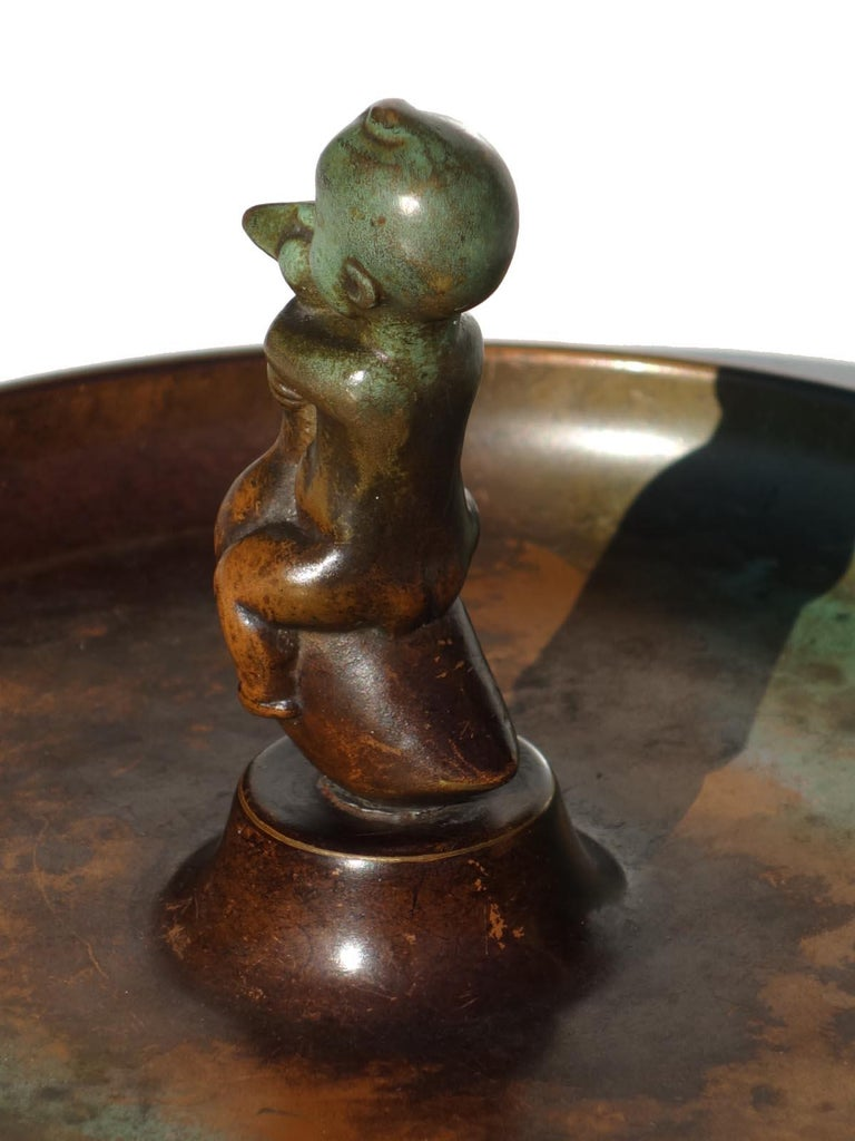 Swedish 1930s by Carl Einar Borgstrom for Ystad Art Deco Bronze Ashtray For Sale