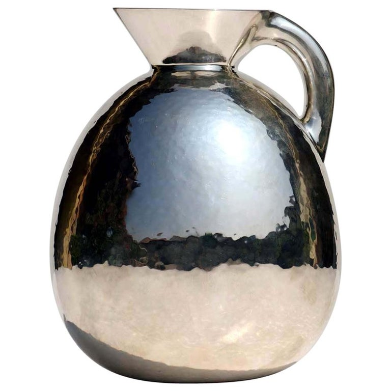 1930s by Eros Genazzi Art Deco Silver Vase For Sale